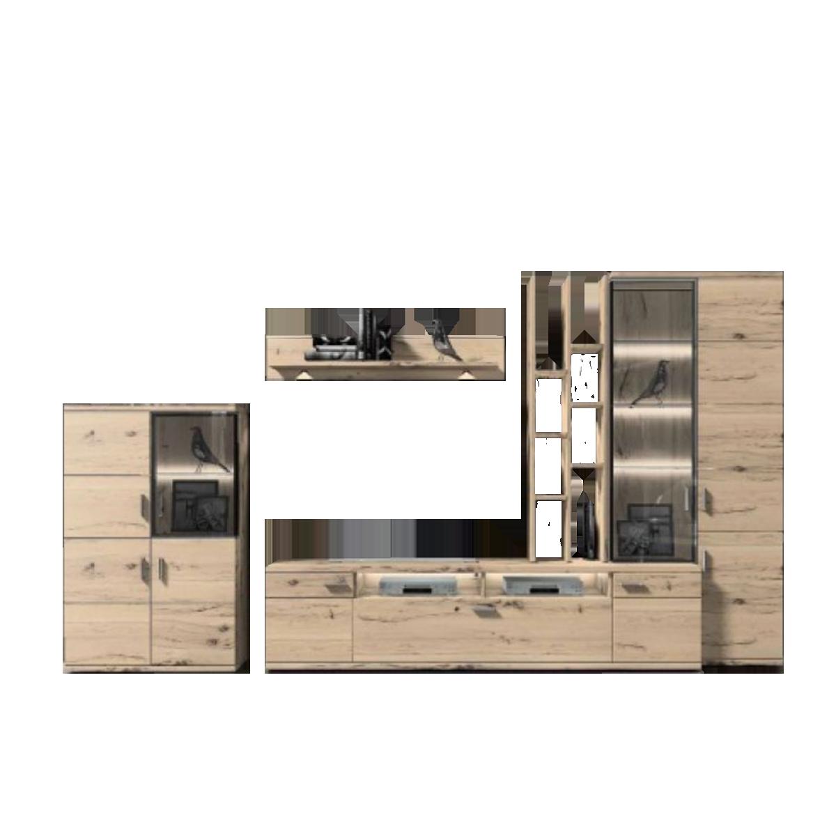Ideal Möbel Wohnkombination Fronten Massivholz Mit Beleuchtung