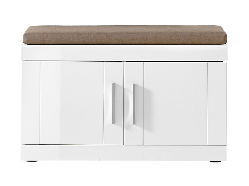 innostyle bank wei hochglanz mit sitzkissen beige. Black Bedroom Furniture Sets. Home Design Ideas