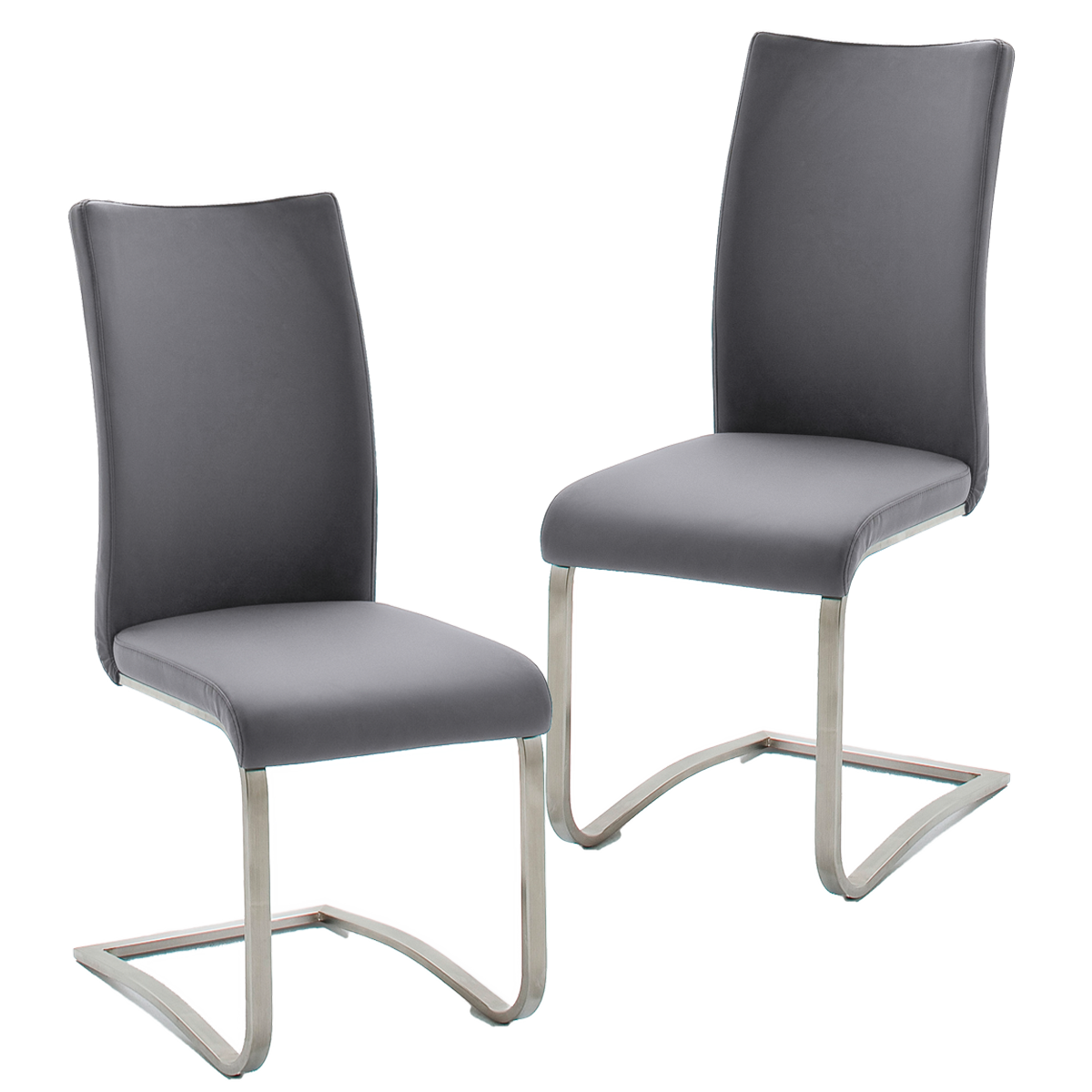 MCA furniture 2er Set Schwinger Arco II Leder grau
