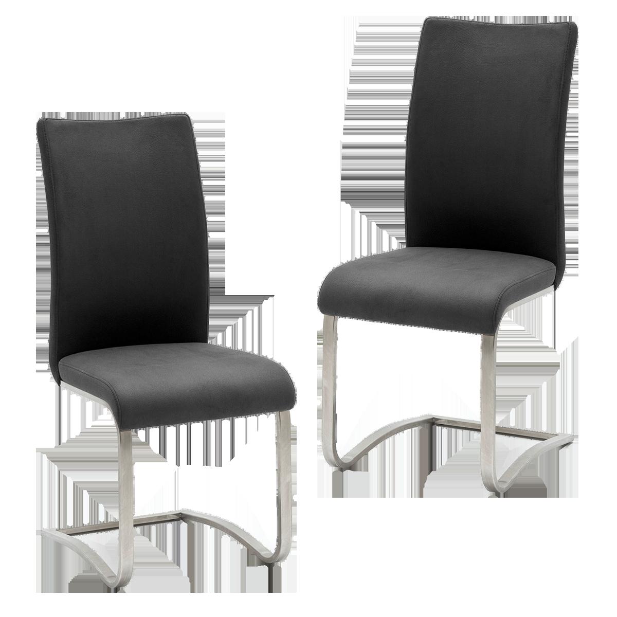 Mca Furniture Arco Ii Stuhl Mit Schwinggestell Bezug Echtleder 2er Set
