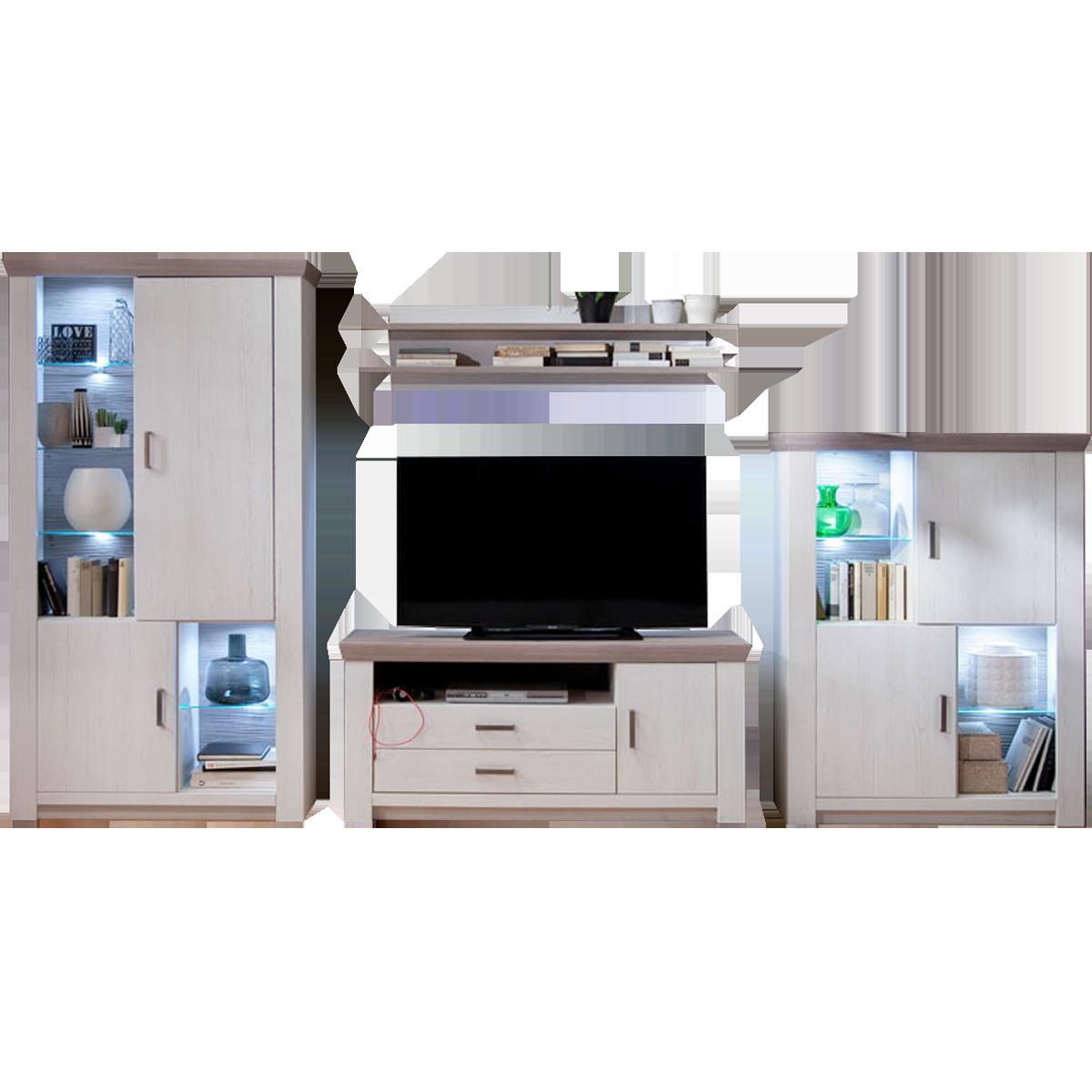 Mca Furniture Wohnwand 2 Bozen 4 Teilig Pinie Aurelio Nelson Eiche