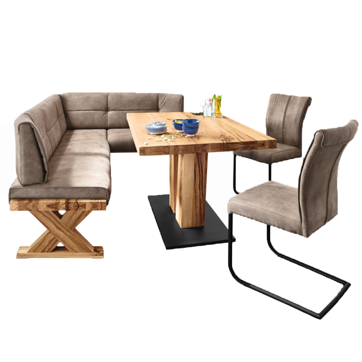 Niehoff Eckbankgruppe mit Bank Alexa sowie Tisch und 10 Schwingstühlen