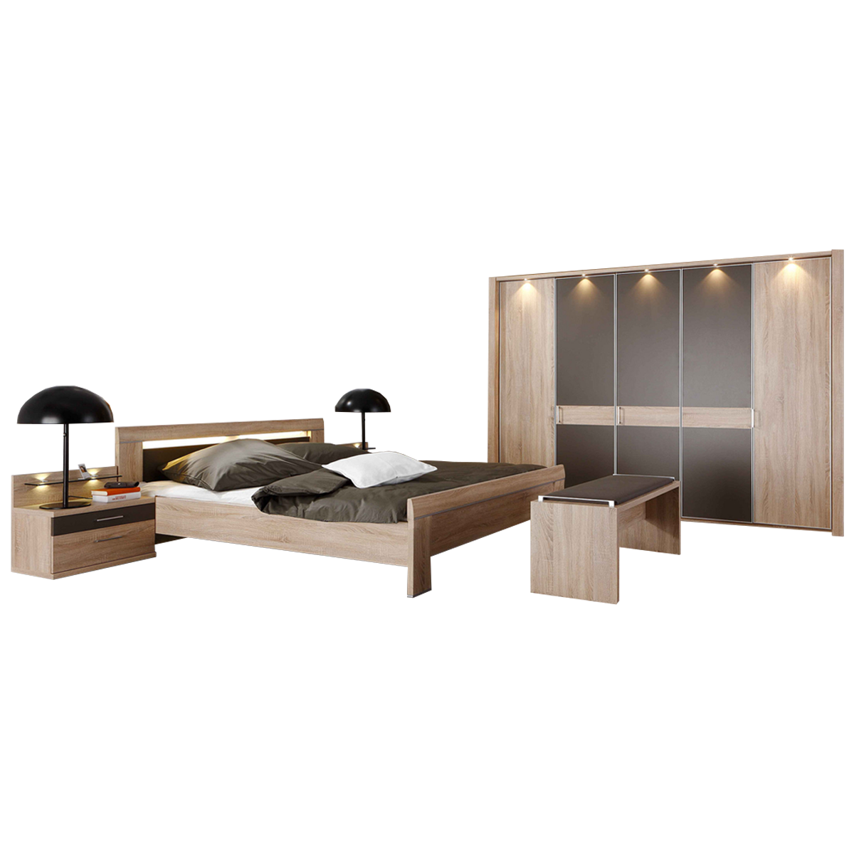 Wiemann Donna 19 Schlafzimmer mit Bett Drehtürenschrank Nachtkonsolen