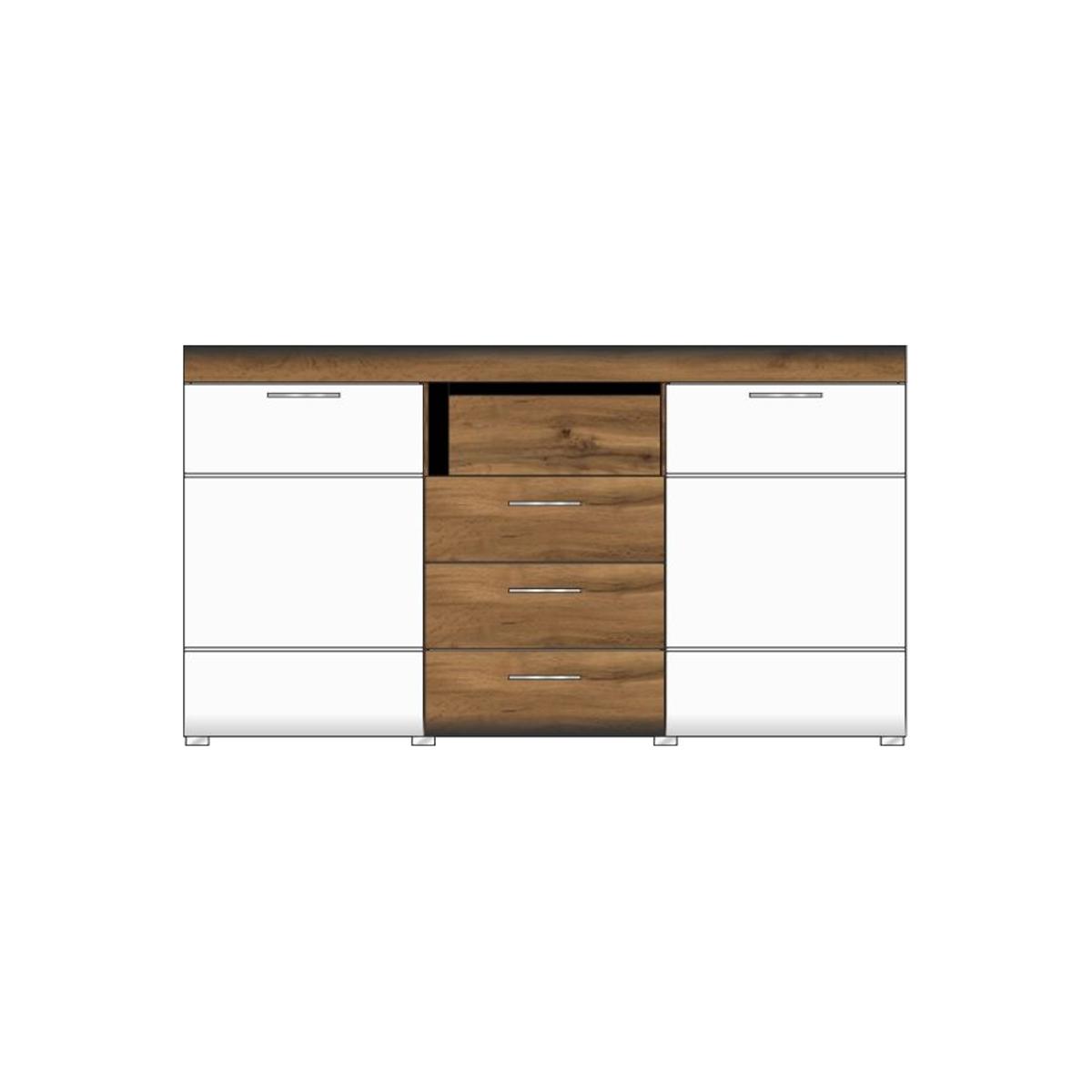 Wohn Concept Modernes Sideboard Lyon In Weiß Matt Eiche Altholz