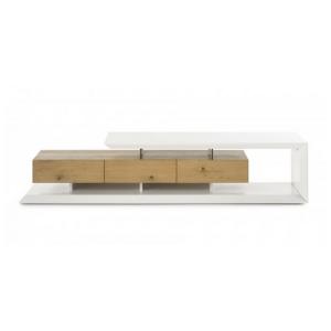 mca furniture emela tv element 59172wa7 mdf weiss matt lackiert asteiche furniert geolt absetzungen klarglas