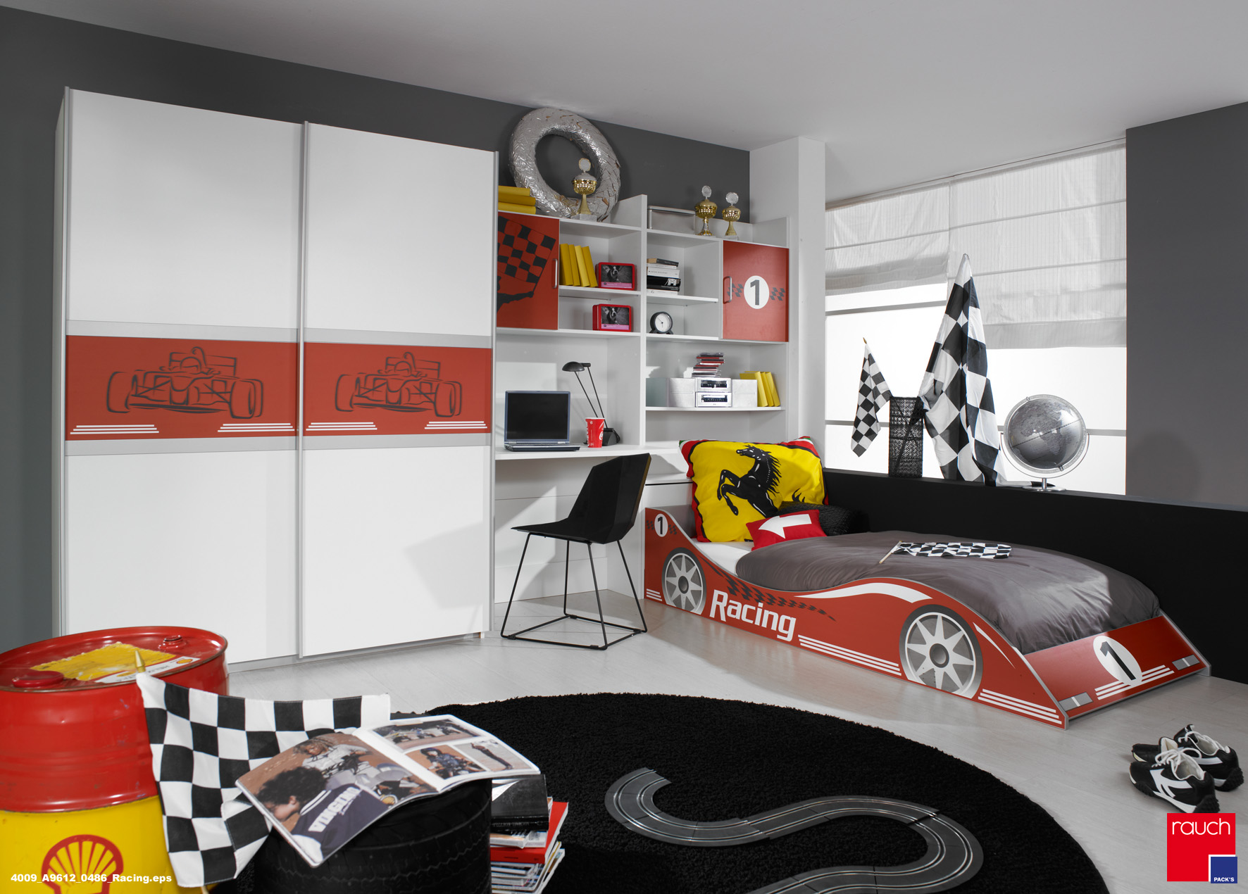 rauch racing kinderzimmer jugendzimmer autobett schrank schreibschrank. Black Bedroom Furniture Sets. Home Design Ideas