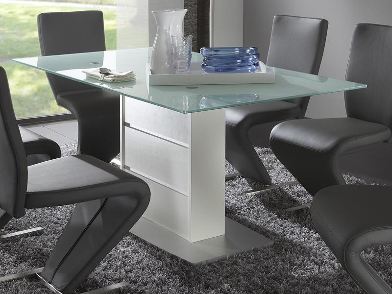 Esstisch glas weiß  Niehoff Carat Säulentisch Stein oder Glasoberteil Esszimmertisch ...