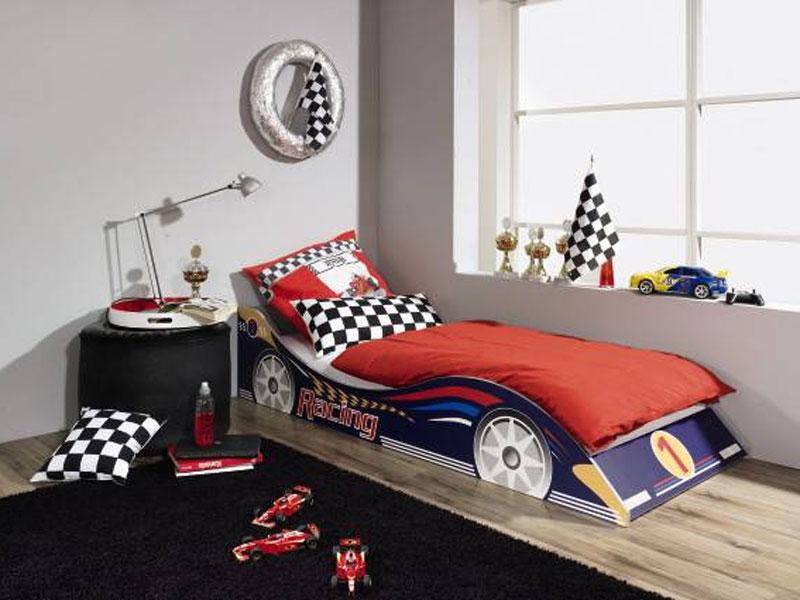 rauch racing bett kinderzimmer autobett 90x200 cm bett mit motivdruck ebay. Black Bedroom Furniture Sets. Home Design Ideas