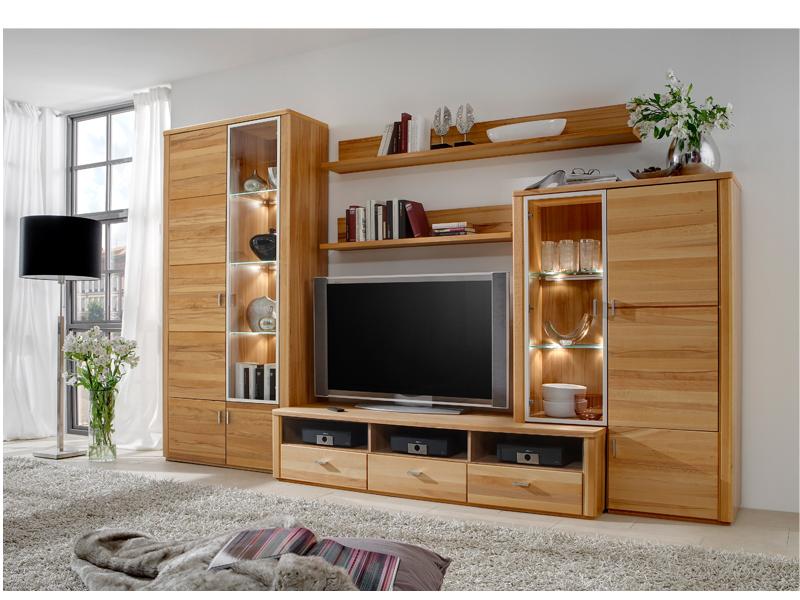 Ideal m bel wohnwand belem kombination 155 kernbuche for Wohnwand massiv modern