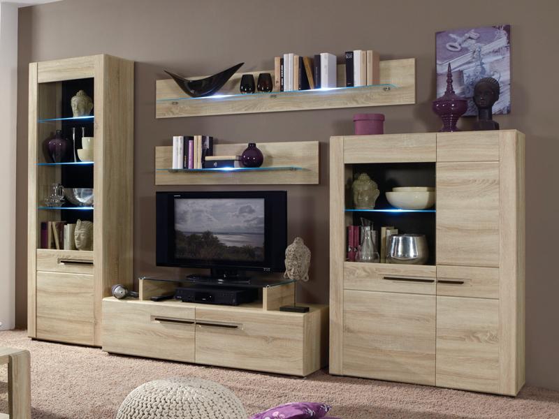 Domina Boston 1 Wohnwand 5-teilige Kombination Tv-aufsatz &amp ... Wohnzimmer Ideen Eiche