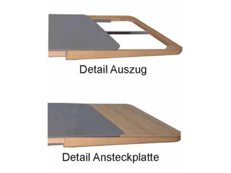 K+W Polstermöbel Esstisch Wave Auszug Platte Massivholz od Glas & Größe wählbar