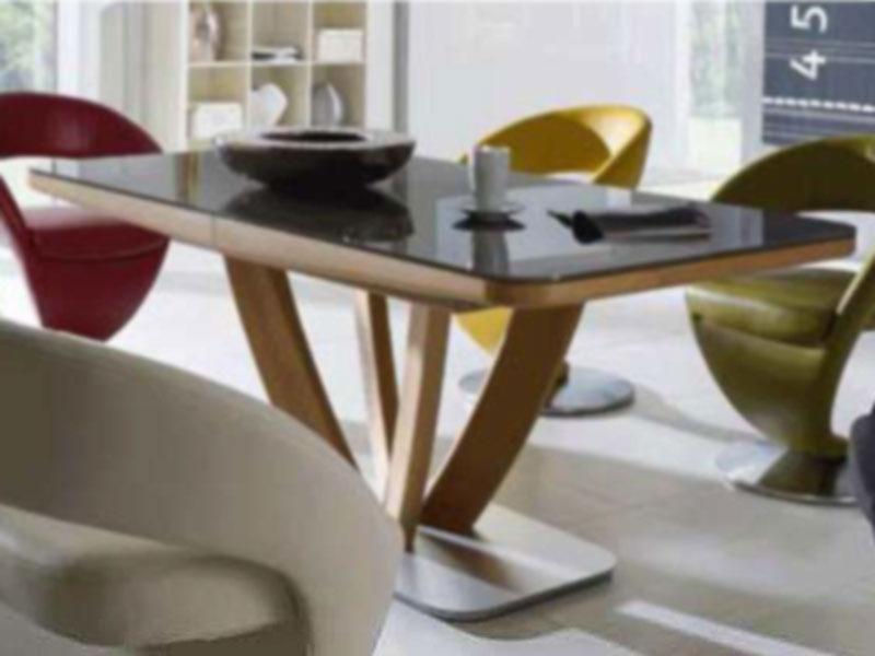 Esstisch Smartline H ~ K+W Polstermöbel Esstisch Wave Auszug Platte Massivholz od Glas & Größe w