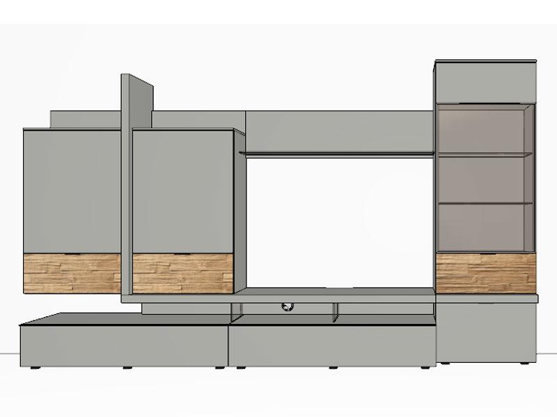 gwinner loreto wohnwandkombination lo1 ausf hrung lack wei oder taupe w hlbar ebay. Black Bedroom Furniture Sets. Home Design Ideas