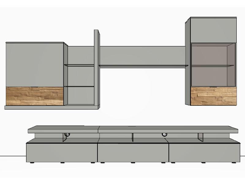 gwinner loreto wohnwandkombination lo6 ausf hrung lack wei oder taupe w hlbar ebay. Black Bedroom Furniture Sets. Home Design Ideas