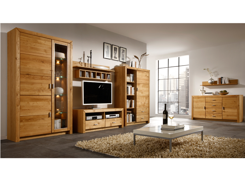 ideal m bel wohnwand ph nix kombination 93 front asteiche stab massiv ge lt ebay. Black Bedroom Furniture Sets. Home Design Ideas