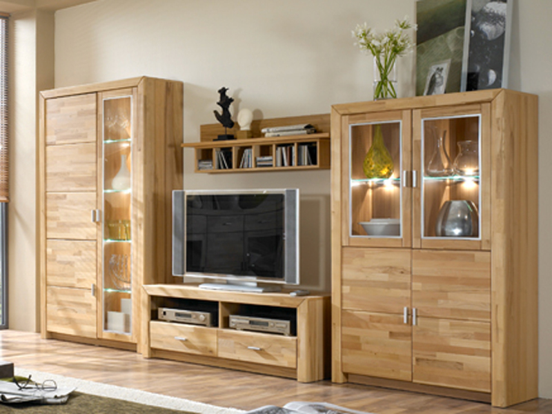 ideal m bel wohnwand solona kombination 52 in kernbuche keilverzinkt massiv ebay. Black Bedroom Furniture Sets. Home Design Ideas
