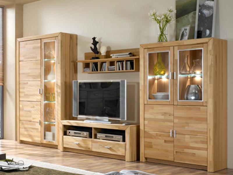 ideal m bel wohnwand solona kombination 52 in kernbuche keilverzinkt massiv ebay. Black Bedroom Furniture Sets. Home Design Ideas