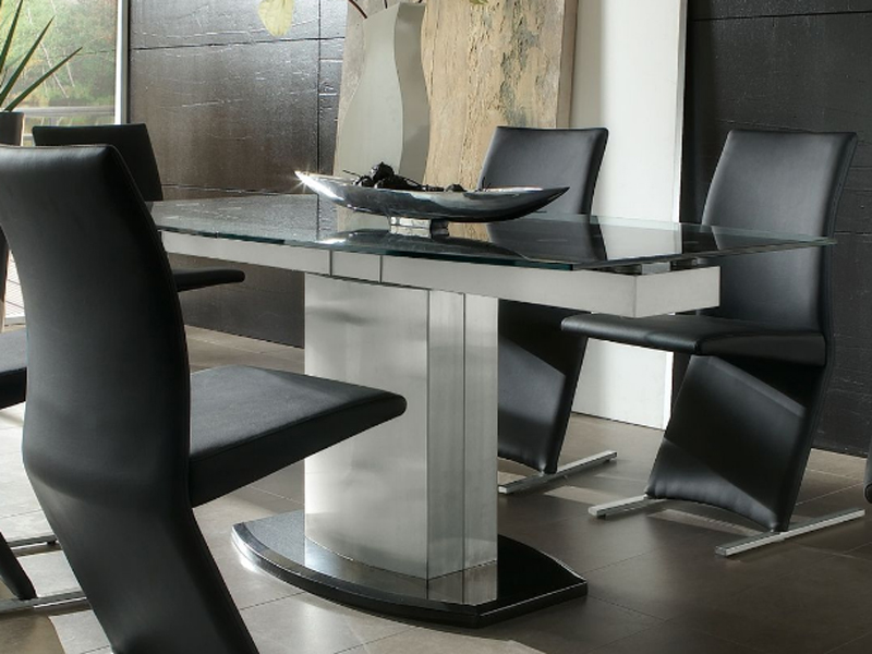 Niehoff esszimmertisch typ 3853 glasoberteil schwarz rand for Esszimmertisch aus granit