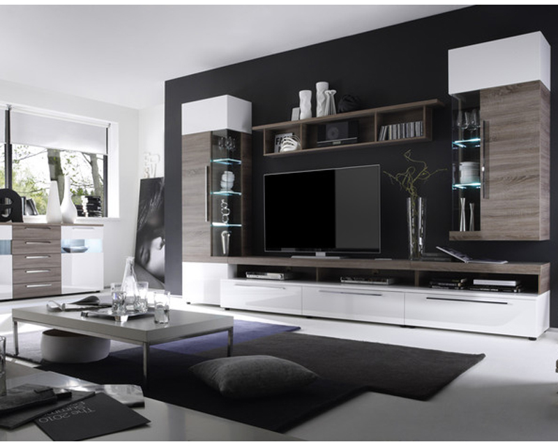 ims living cosmos tv wohnwand wei hg und sonoma eiche tr ffel 3d folie neu ebay. Black Bedroom Furniture Sets. Home Design Ideas