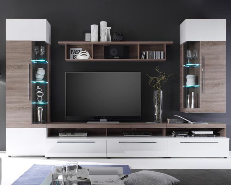 ims living cosmos tv wohnwand wei hg und sonoma eiche tr ffel 3d folie neu ebay. Black Bedroom Furniture Sets. Home Design Ideas