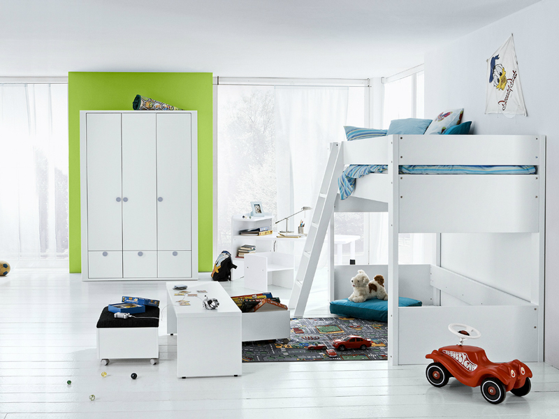 kinderzimmer dekor hochbett. Black Bedroom Furniture Sets. Home Design Ideas