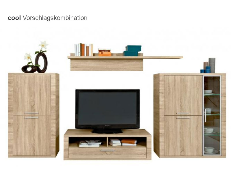 arte m cool wohnwand anbauwand vorschlagskombination dekor eiche hn oder w hlbar ebay. Black Bedroom Furniture Sets. Home Design Ideas