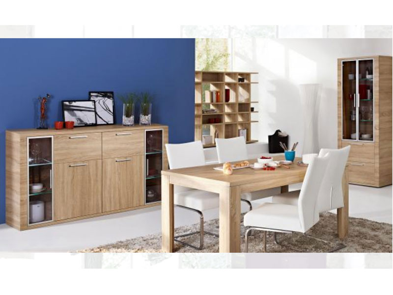 arte m cool esszimmer 8 teilig essgruppe sideboard vitrine eiche holznachbildung ebay. Black Bedroom Furniture Sets. Home Design Ideas