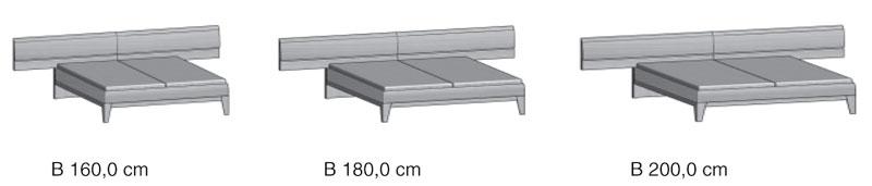 Bett Komfort-Liegenanbaubet t Schlafzimmermöbel massiv 2 Ausf.