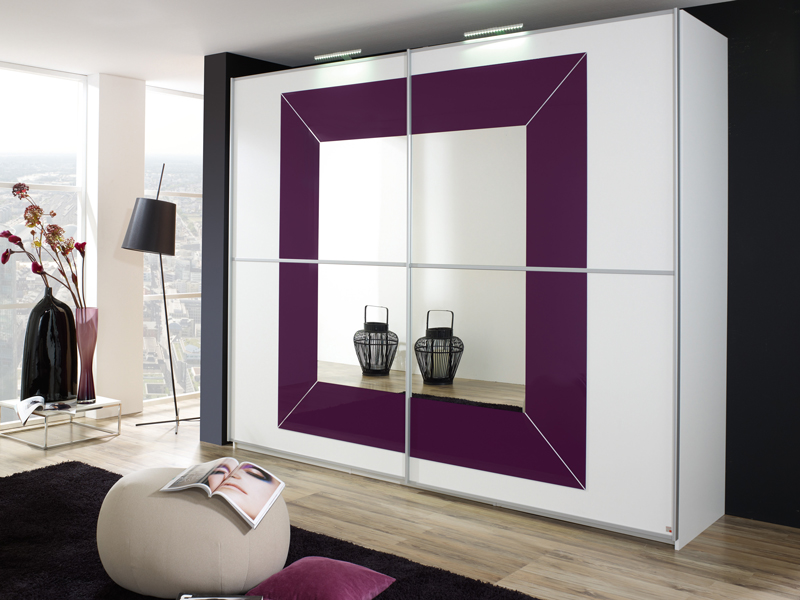kleiderschrank focus rauch weiss spiegel brombeerglas ebay. Black Bedroom Furniture Sets. Home Design Ideas