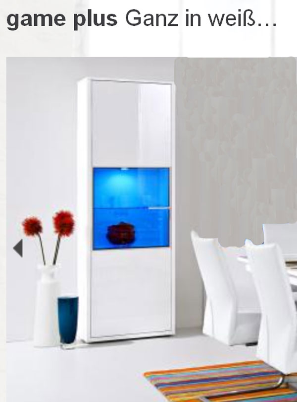 arte m game plus vitrine weiss hg f r esszimmer speisezimmer mit powerdownlights ebay. Black Bedroom Furniture Sets. Home Design Ideas