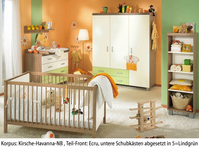 paidi leo babyzimmer kinderzimmer kirsche ecru lindgr n ebay. Black Bedroom Furniture Sets. Home Design Ideas