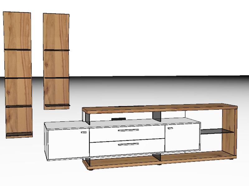 Gwinner mediaconcept wohnwandkombination mc906 oder mc906 for Sideboard zeichnung