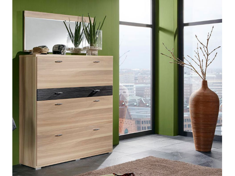 wittenbreder woody plus schuhschrank flur garderobe spiegel schrank furnier matt ebay. Black Bedroom Furniture Sets. Home Design Ideas
