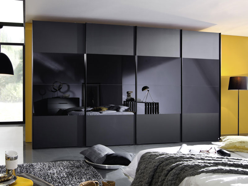 rauch linea concept 20up schwebet renschrank kleiderschrank front 3 schwarzglas. Black Bedroom Furniture Sets. Home Design Ideas