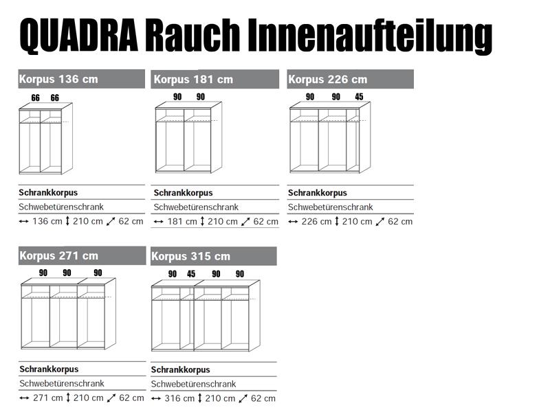 Rauch Quadra Kleiderschrank Möbel Schwebetürenschrank 4x Spiegel 4x ...