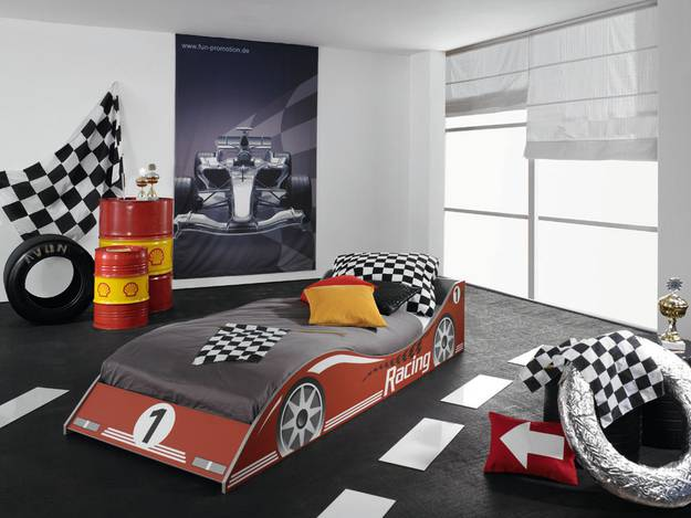 rauch racing bett kinderzimmer autobett 90x200 cm bett mit motivdruck ebay. Black Bedroom Furniture Sets. Home Design Ideas