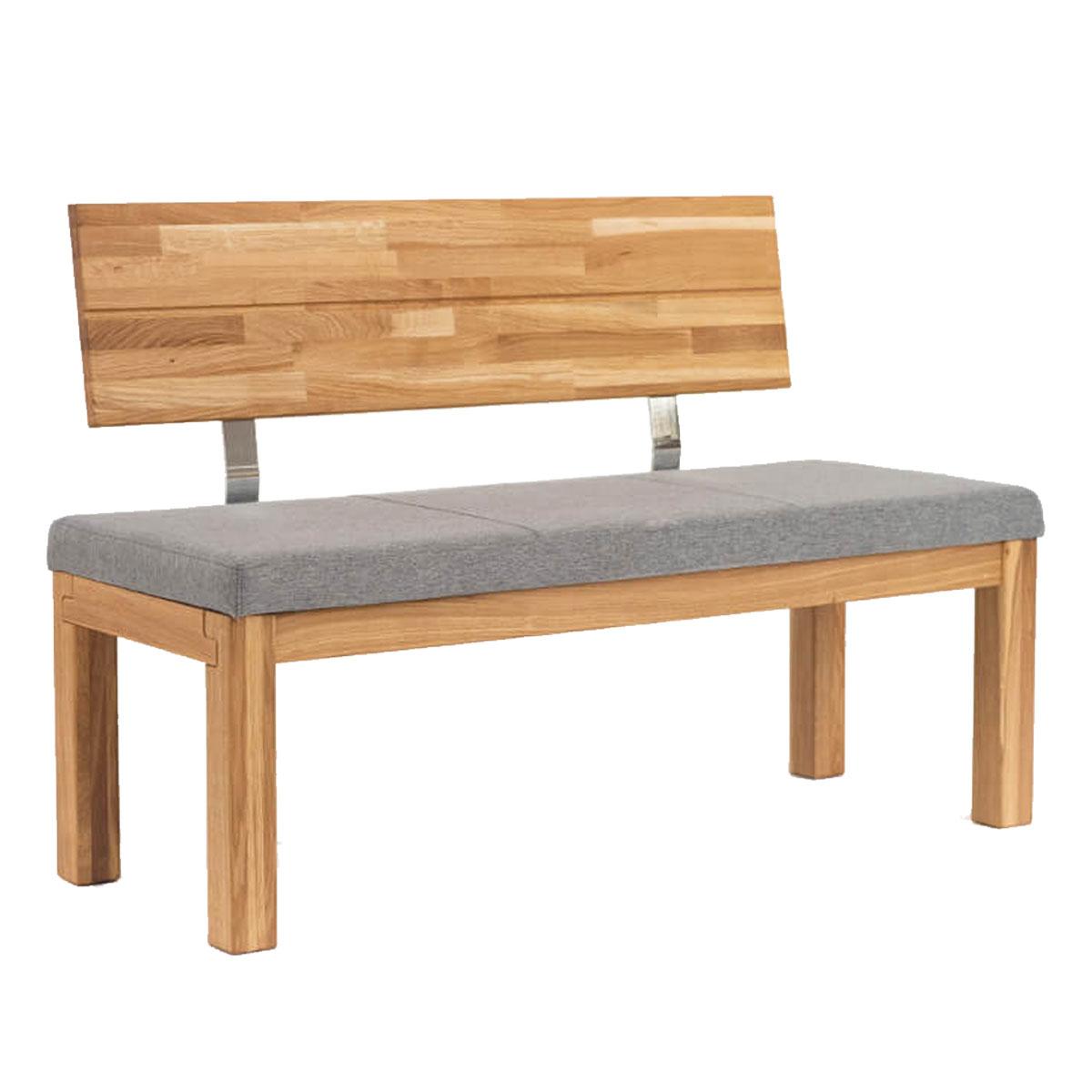 Standard Furniture Sitzbank Catania mit Lehne Massivholz Eiche Sitzpolster grau   eBay