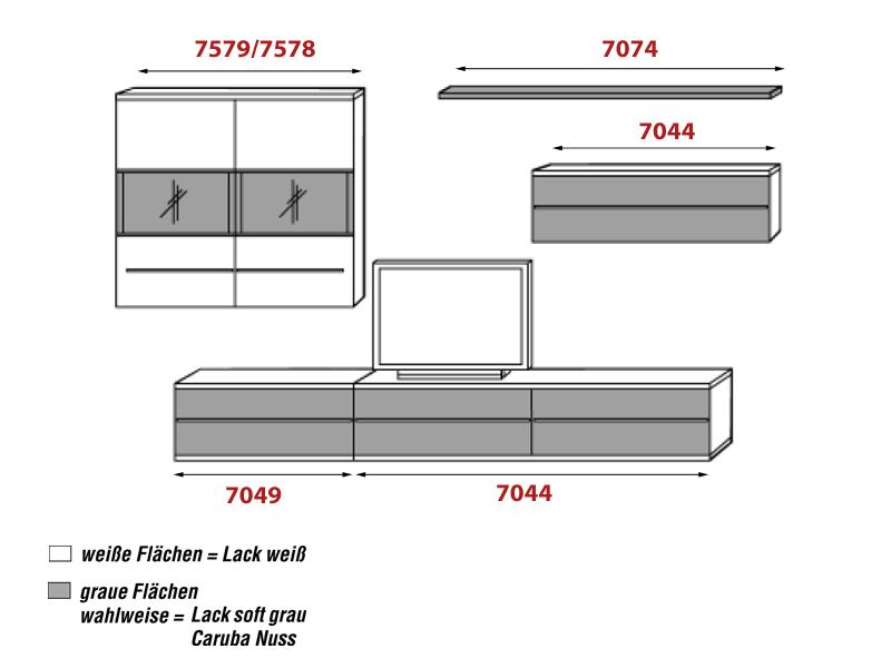 Loddenkemper Kito 9830 Wohnwand 5 Teilig Wohnzimmer Neu Lack Softgrau